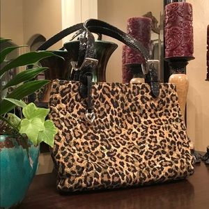 BRIGHTON leopard tapestry shoulder bag